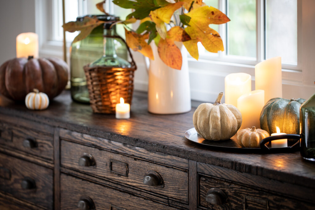 sideboard with decorations for thanksgiving