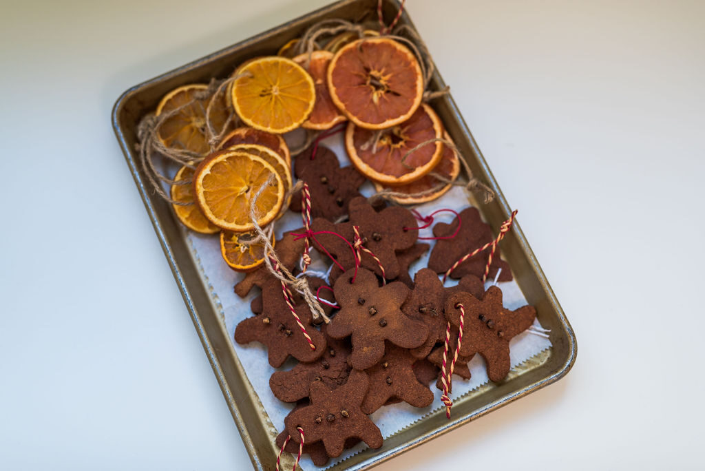 oven-dried orange and grapefruit slices and cinnamon applesauce ornaments