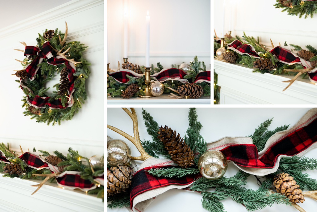 cozy cabin decor theme for christmas wreath and garland on mantel