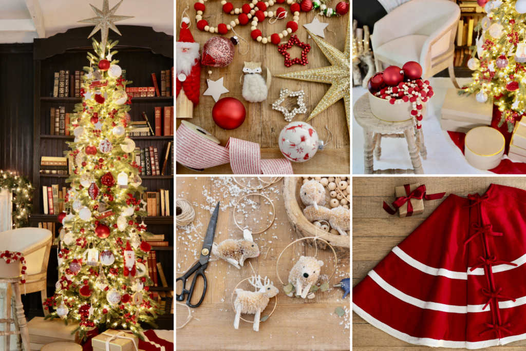 A collage of photos showing a decorated Christmas tree and assorted red and white ornaments