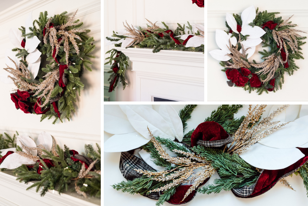 Christmas wreath and garland with magnolia branch picks, metallic picks and velvet ribbon