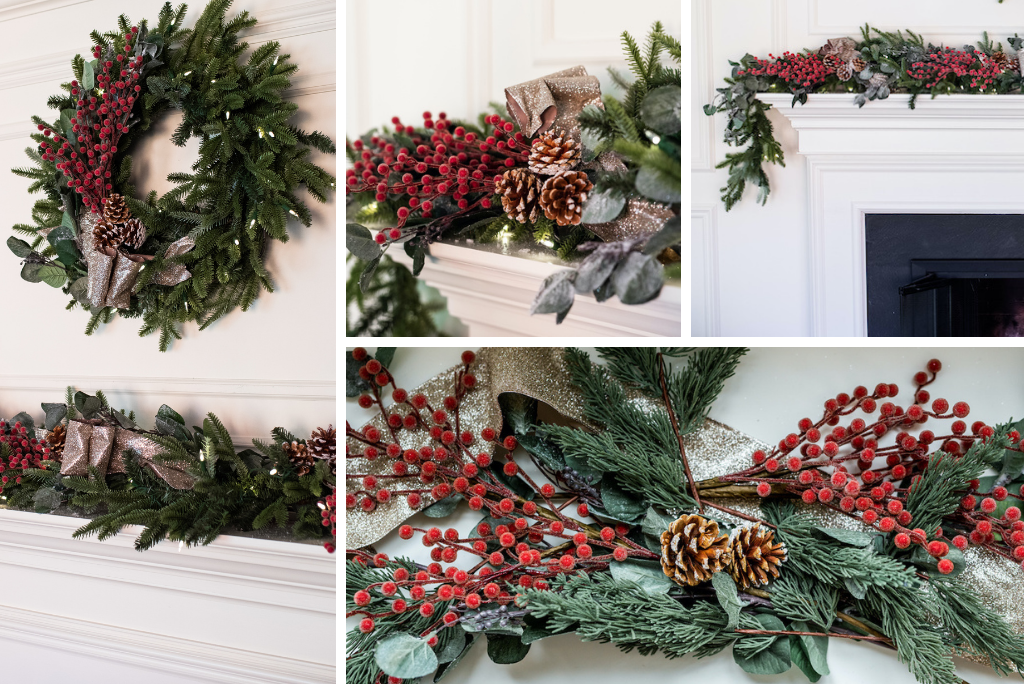 christmas wreath and garland with berries, pinecones, and ribbon