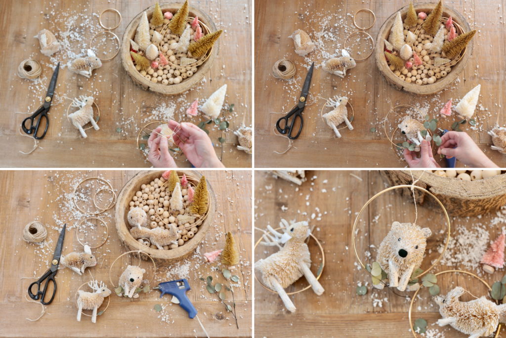 A collage of photos showing steps for making animal ornaments