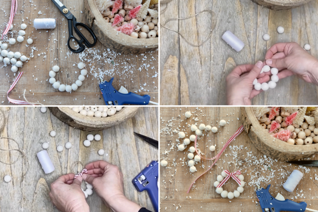 A collage of photos showing steps for creating wreath ornaments