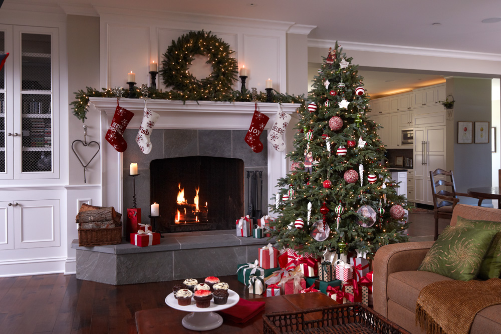 A transitional home with a magnificent Balsam Hill artificial Christmas tree and wreath