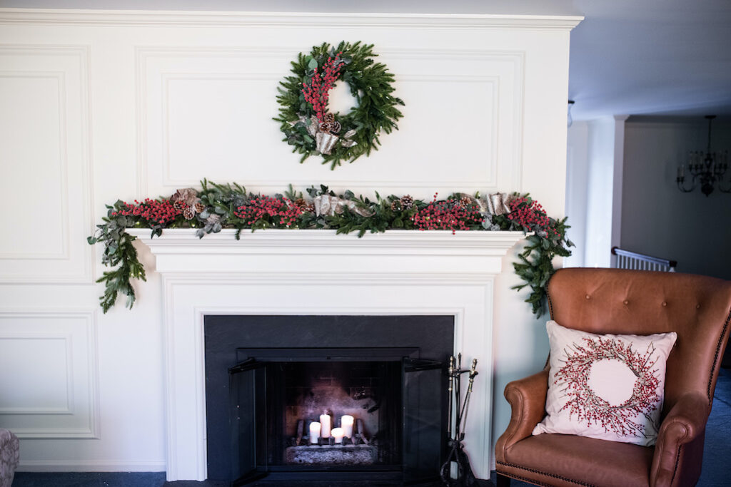 classic christmas wreath and garland decorations