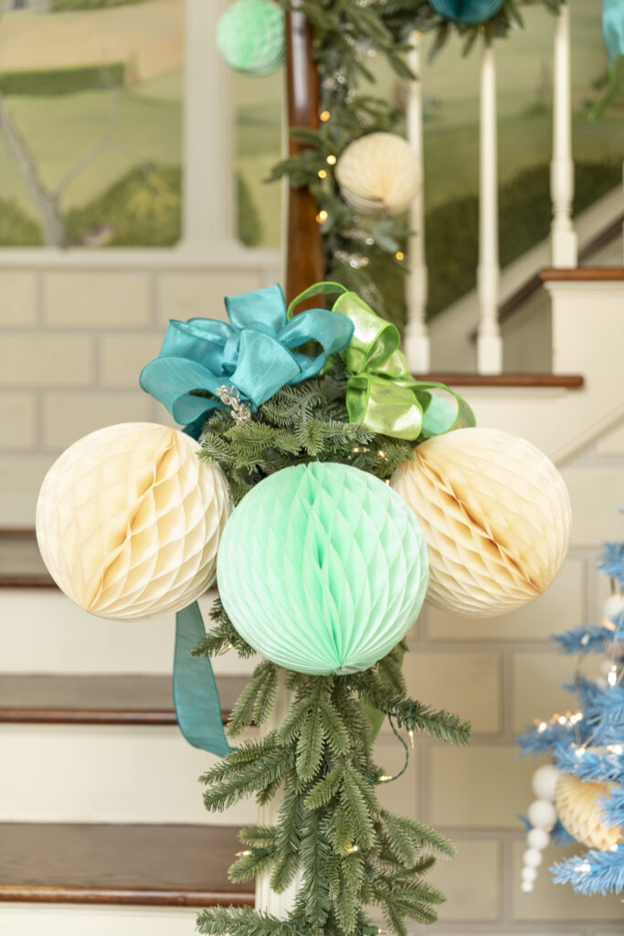 balsam hill fraser fir garland with ribbons and honeycomb balls