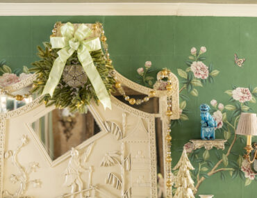 wreath with ribbon on mantel
