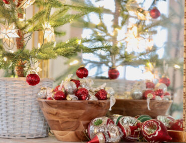 vintage christmas theme ornaments in bowl