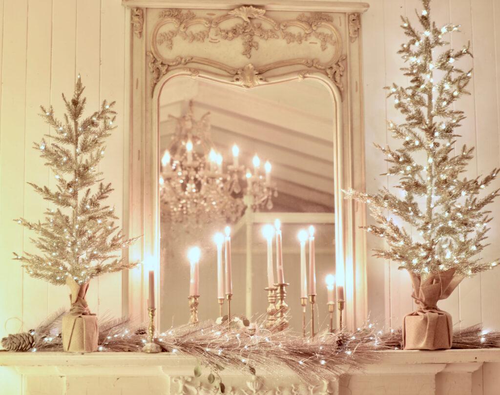 metallic inspired christmas theme on mantel