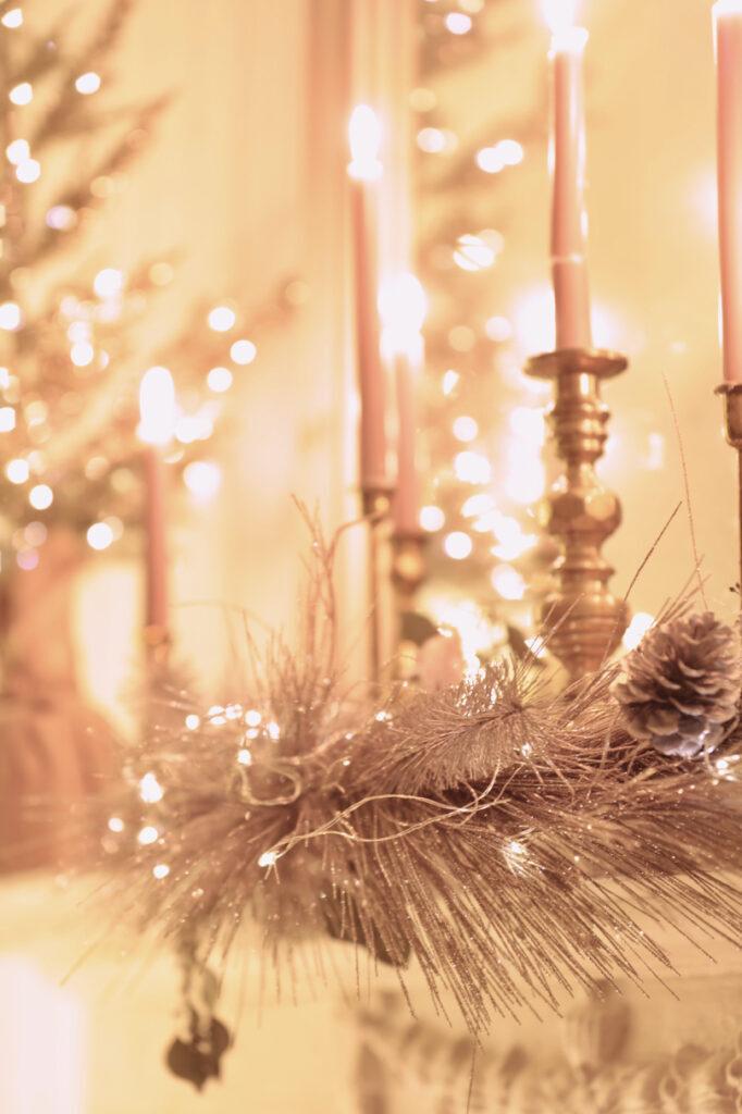 candles and metallic foliage