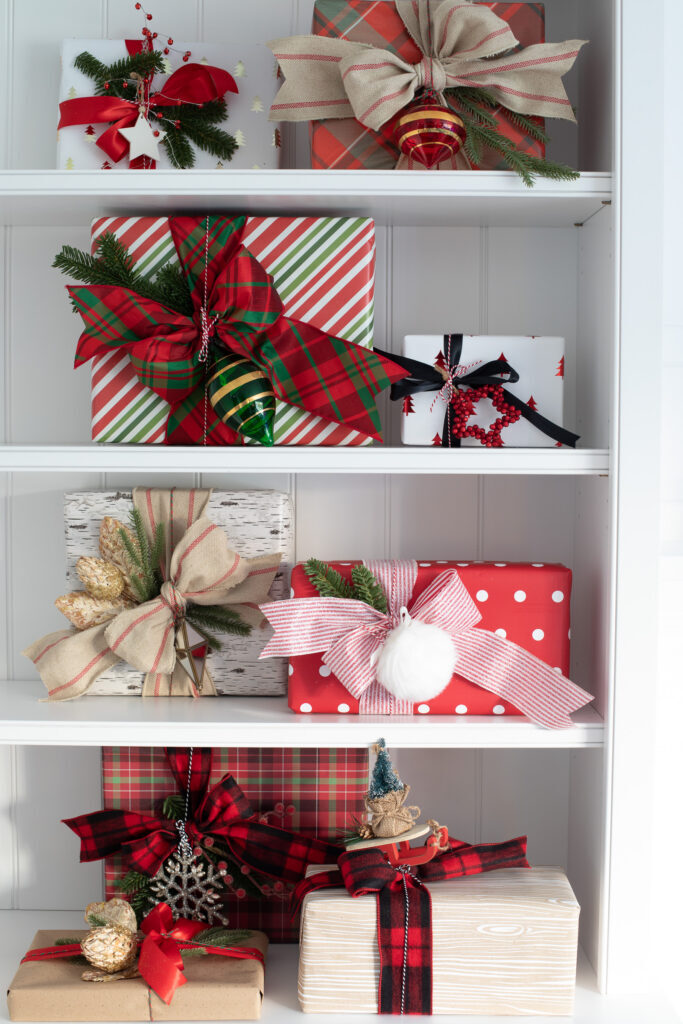 shelf with wrapped gifts