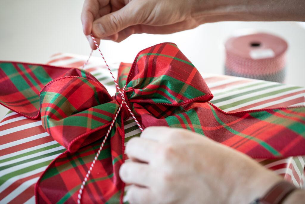 adding twine to gift