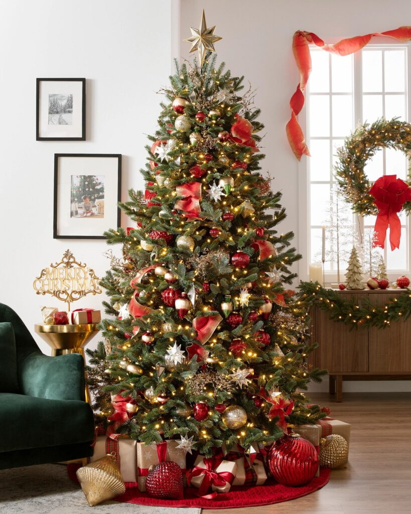 Balsam Hill Fraser Fir Christmas Tree with red and gold ornaments