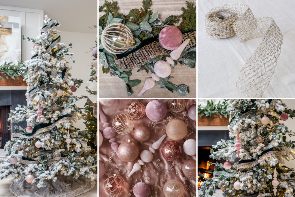 A collage of photos showing a Christmas tree and assorted ribbons and ornaments