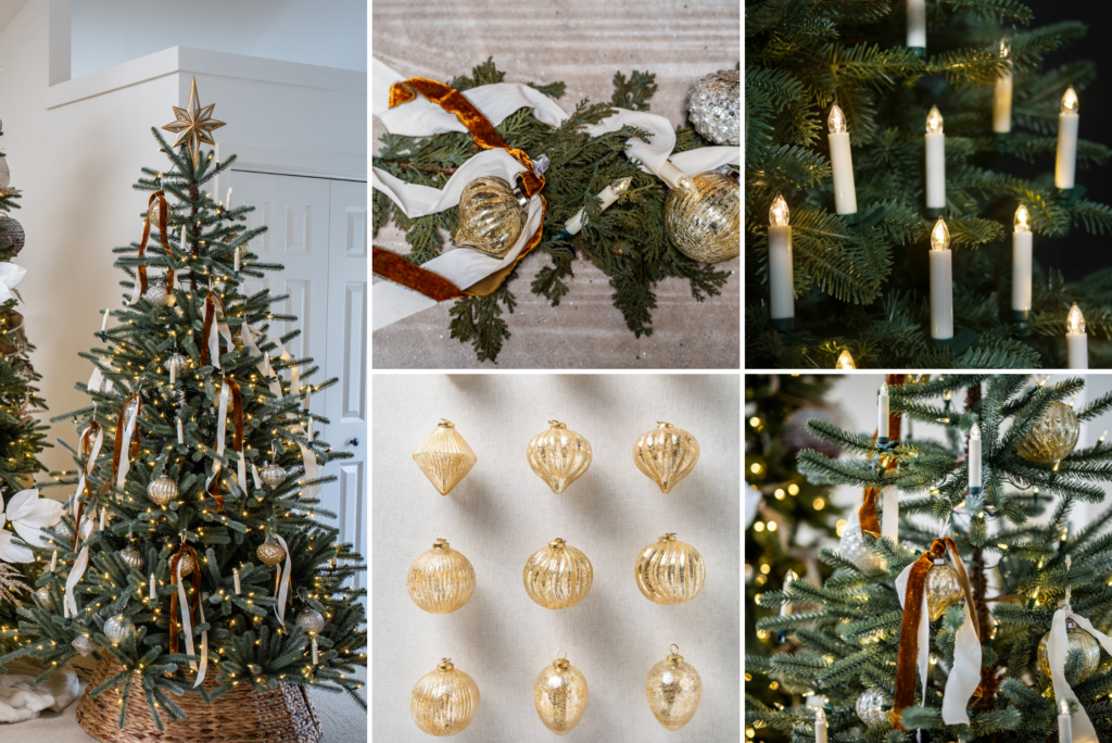 A collage of photos showing a Christmas tree and assorted ornaments