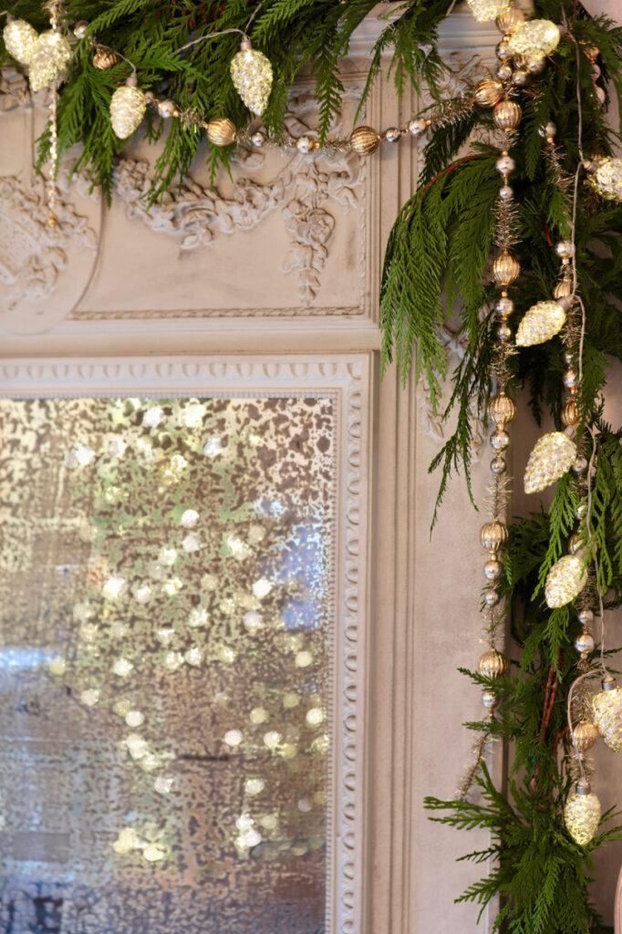 vintage mirror with balsam hill garland