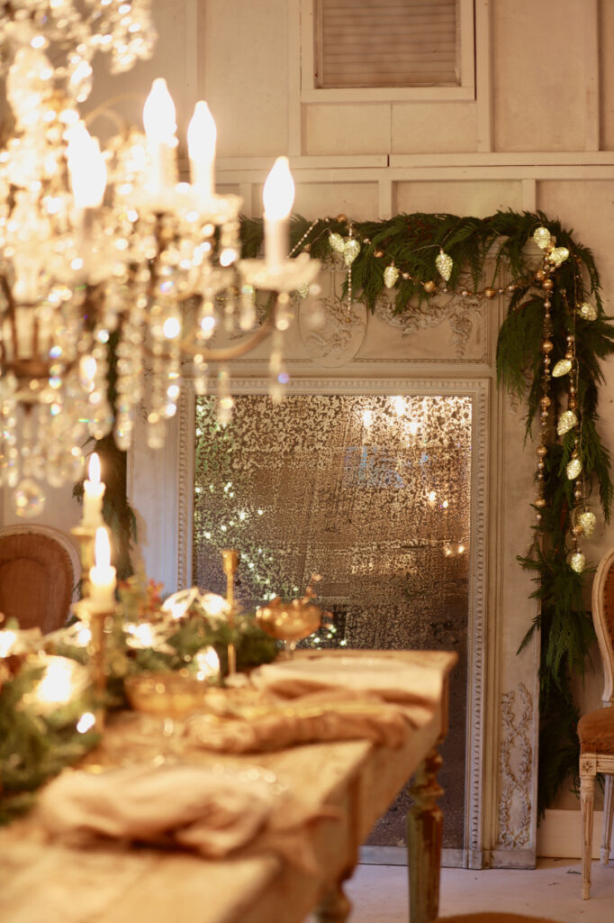 christmas table centerpiece ideas with pre-lit garland