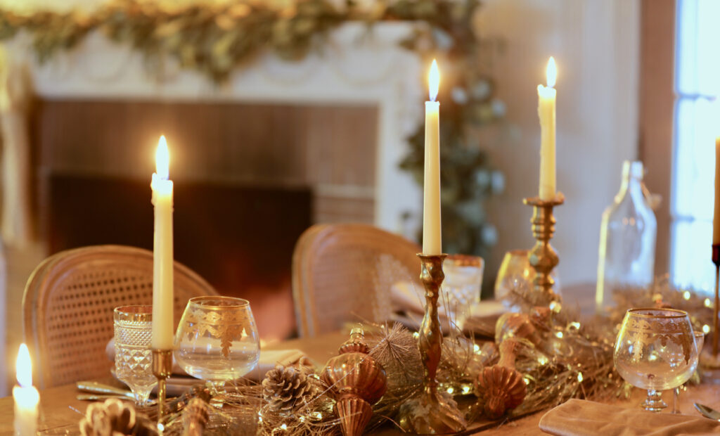 christmas table centerpiece with gold and gilded accents