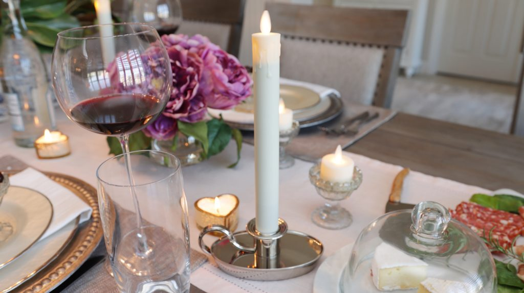 balsam hill miracle flame LED chamberstick candles as part of valentine's day tablescape