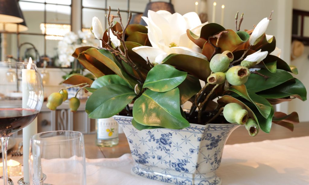 balsam hill spring magnolia foliage as valentine's day tablescape centerpiece