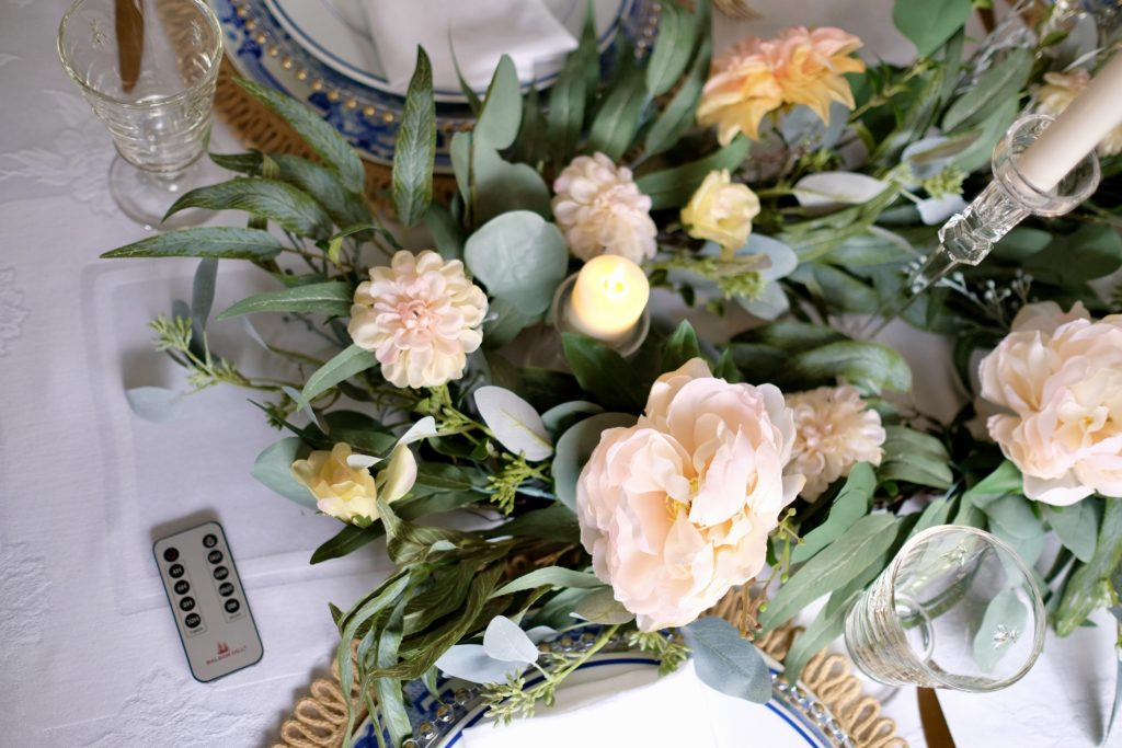 valentine's day table setting styled with balsam hill faux florals