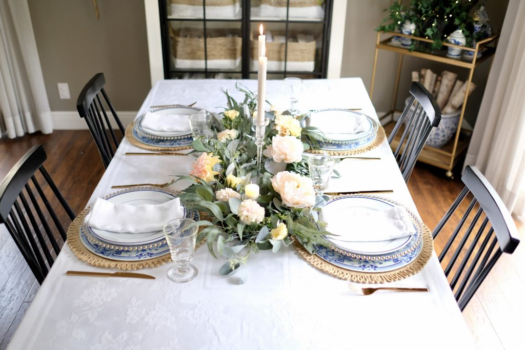 balsam hill floral arrangements as valentine's day table decoration