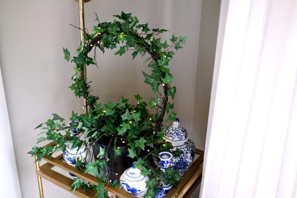 balsam hill outdoor english ivy circle topiary on bar cart