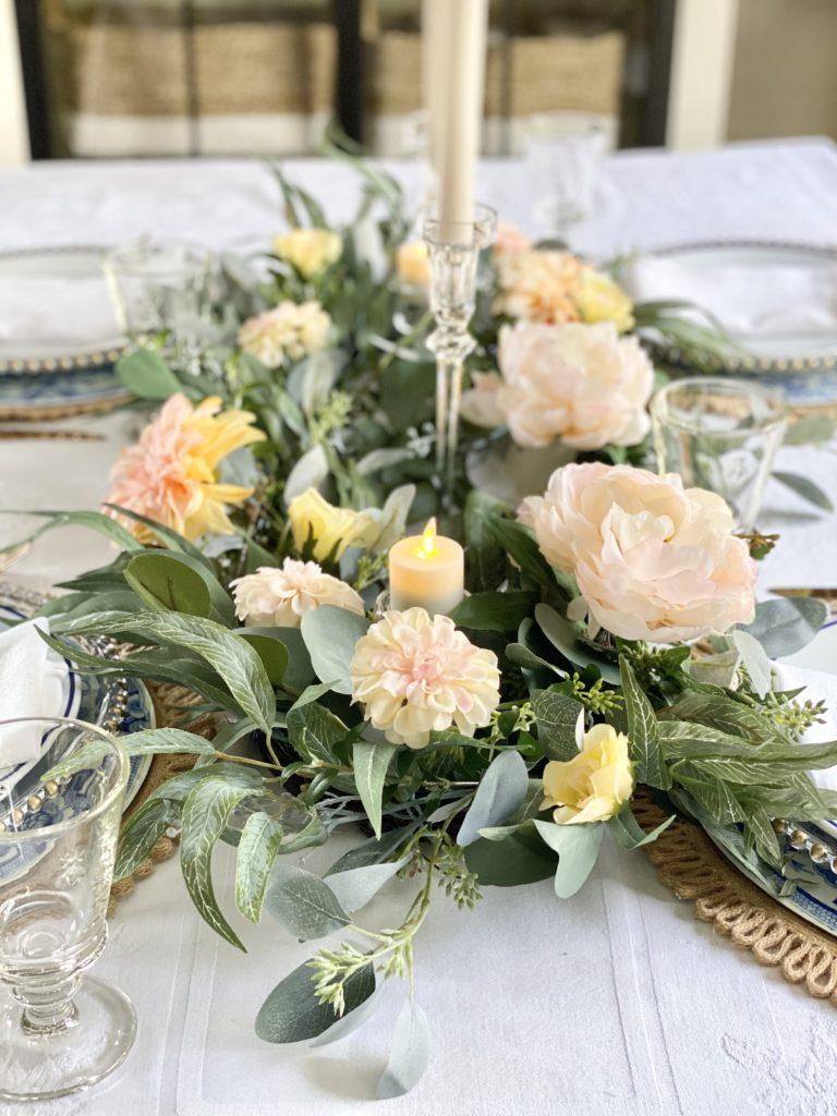balsam hill napa romance garland as table centerpiece