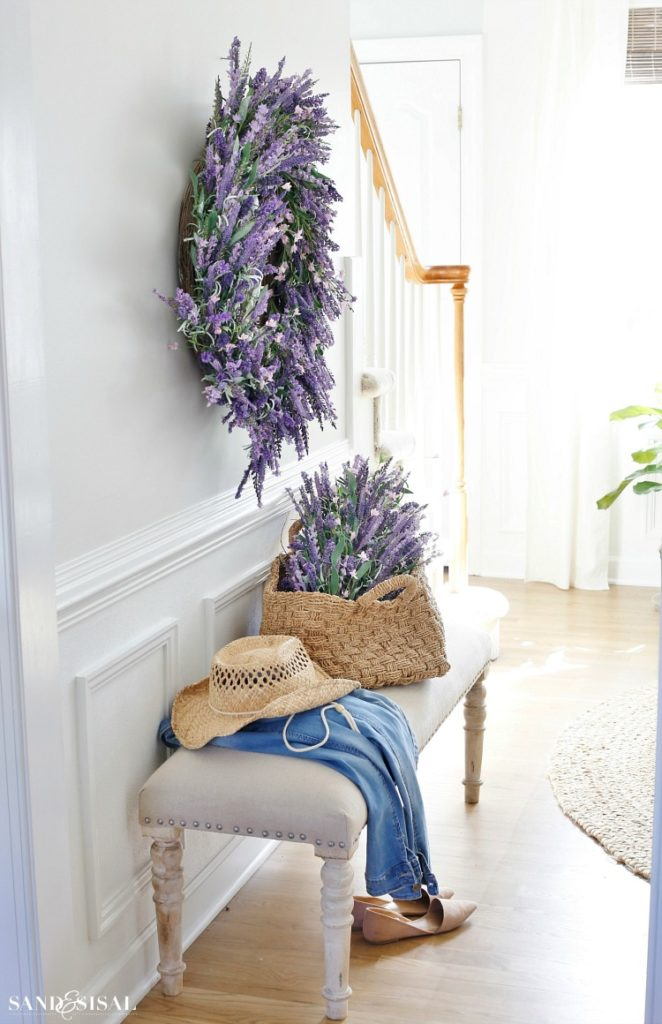Balsam Hill Provencal Lavender wreath and swag near entryway staircase