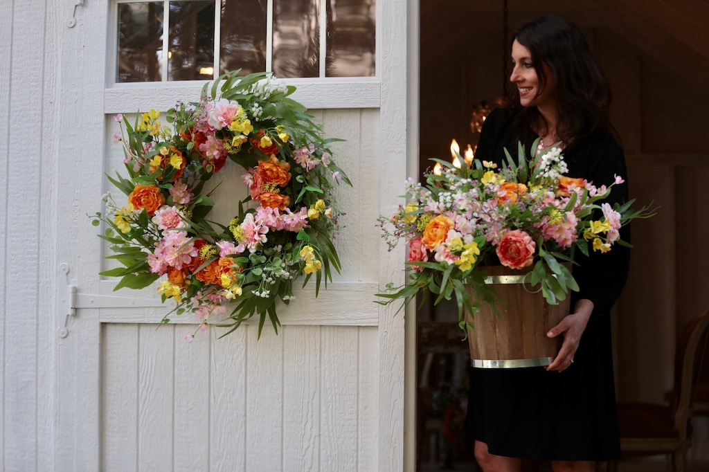 Courtney of French Country Cottage decorates her garden shed with Balsam Hill outdoor-safe artificial flowers