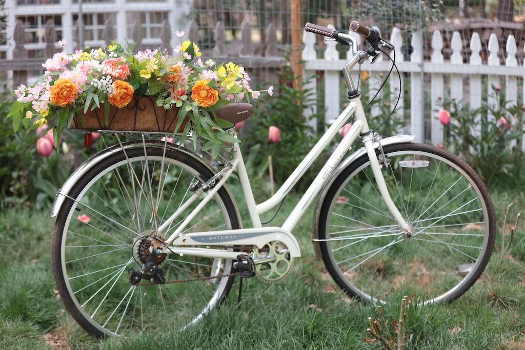 Beach cruiser with flower window box on back frame as a spring decorating idea