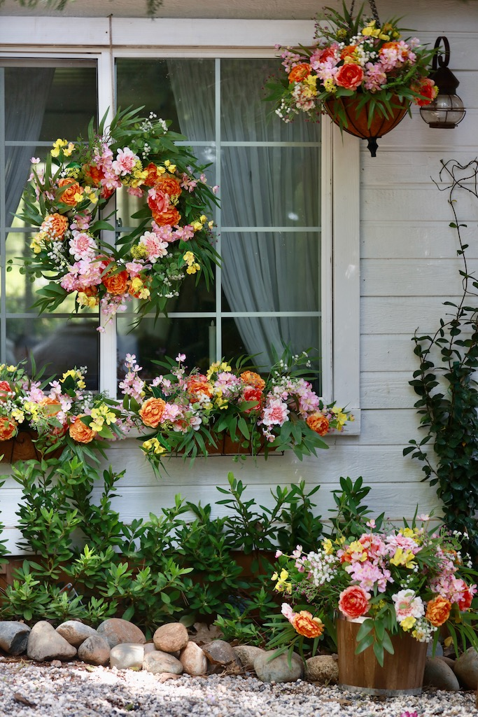 Balsam Hill Outdoor Spring Morning full collection used as spring window décor