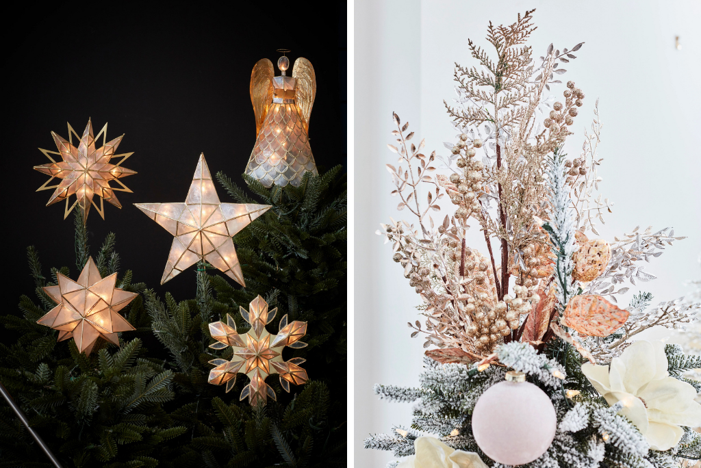 Balsam Hill Capiz and Bouquet Christmas tree toppers