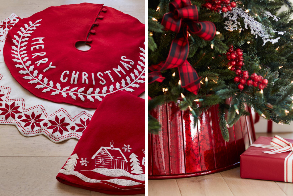 Balsam Hill red and white Christmas tree skirts and collars