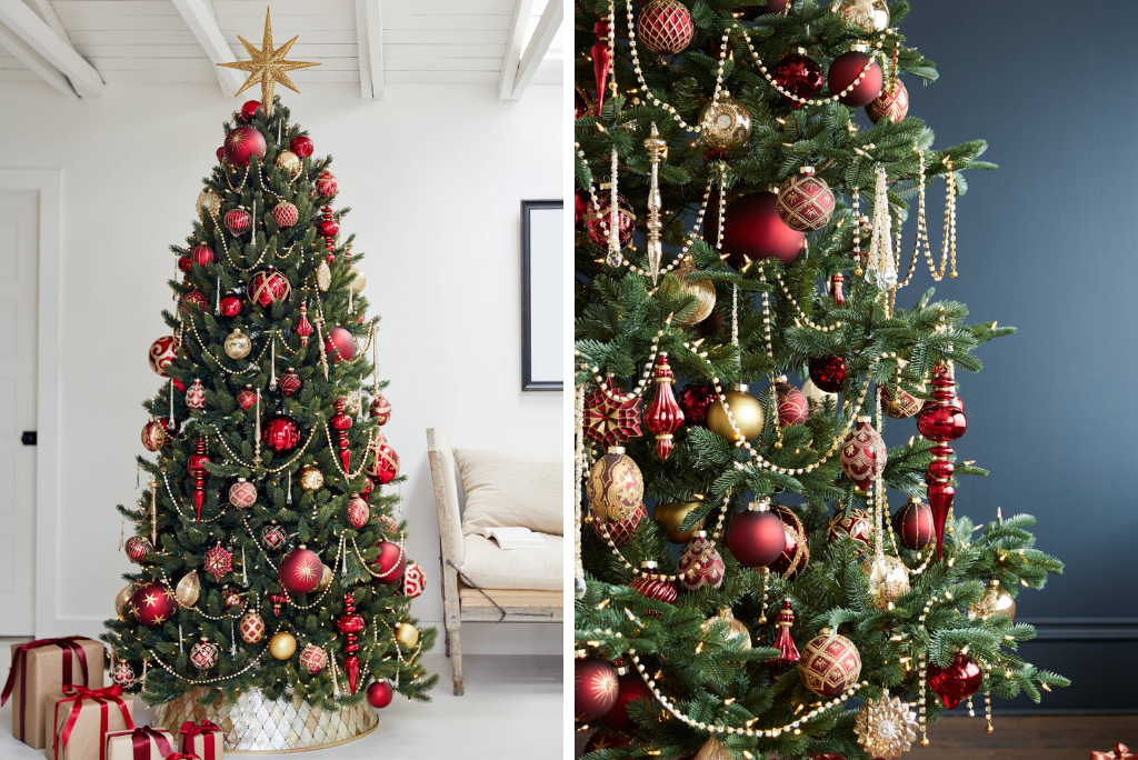 Decorated Balsam Hill Christmas tree with red and gold Brilliant Bordeaux Ornament Set