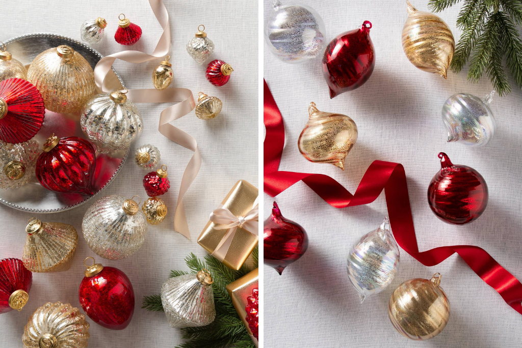 Balsam Hill red, gold, and silver Mercury Glass Ornaments